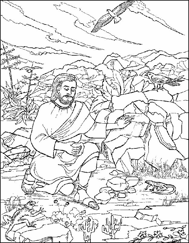 This is a photo of Ambitious Jesus Tempted In The Wilderness Coloring Sheet